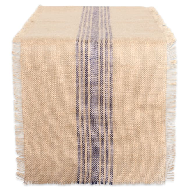 Steel Blue Center Stripe Burlap 108