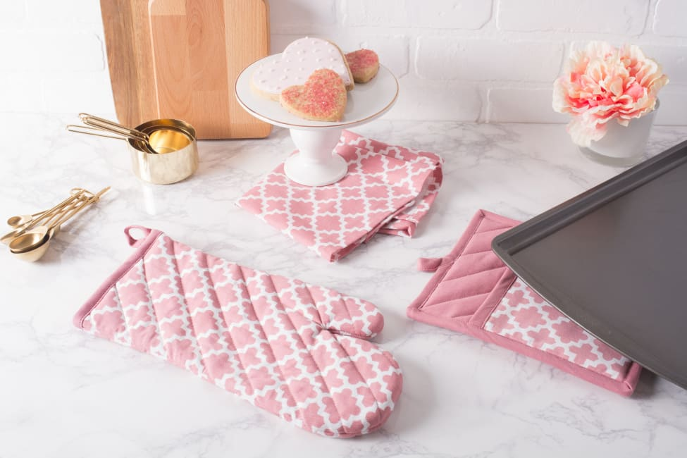 Pink Rose Geometric Kitchen Set of 2