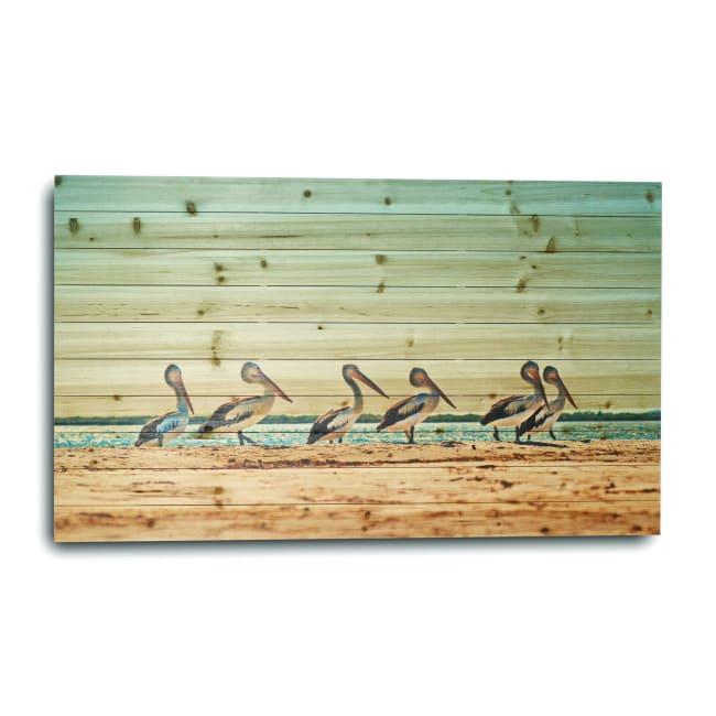 Flock of Pelicans Planked Wood Animal Art Print