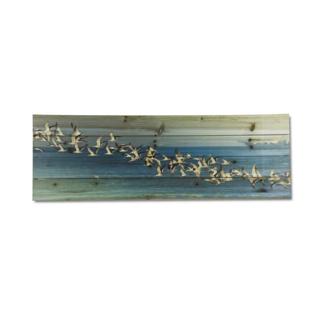 Birds in Flight Planked Wood Animal Art Print
