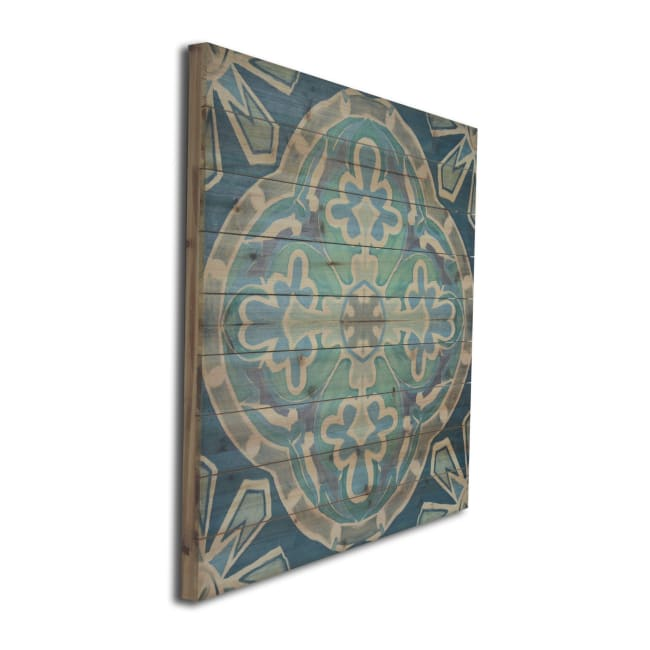 Blue Medallion Planked Wood Pattern Art Print