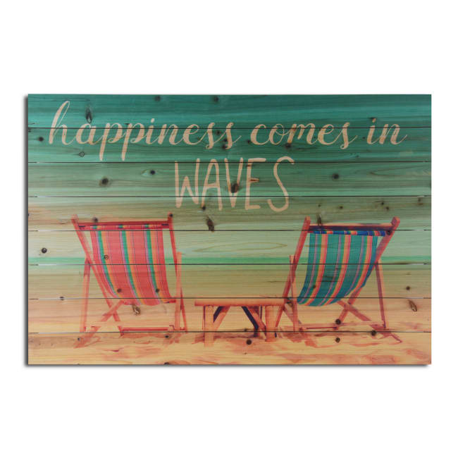 Happiness Comes in Waves Planked Wood Beach Art Print