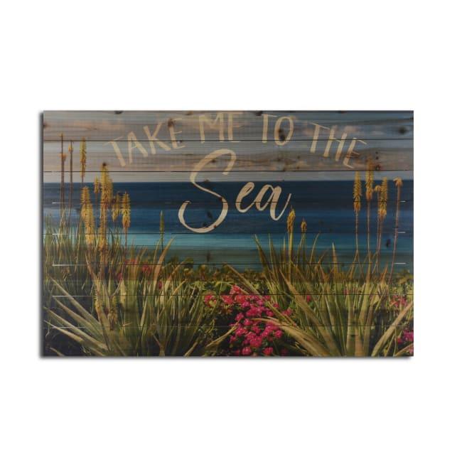 Take Me to the Sea Planked Wood Beach Art Print