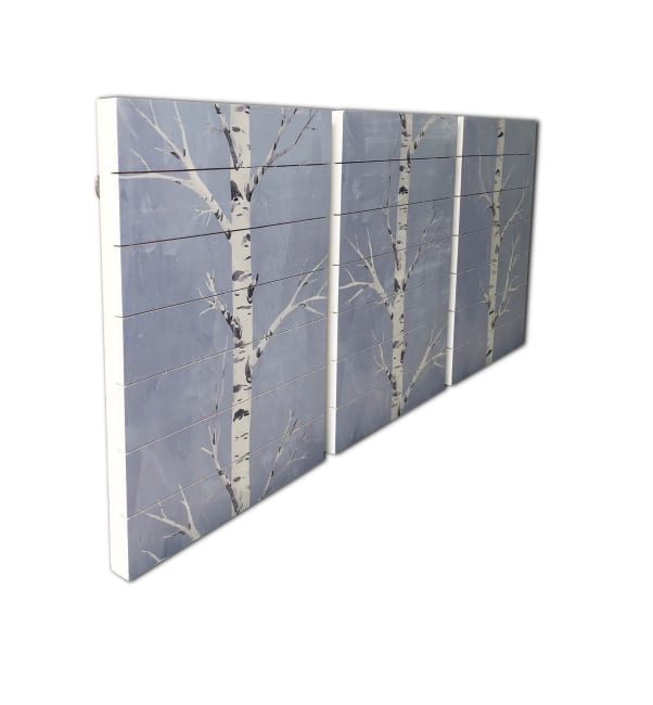 Birch Trees 3 Piece Planked Wood Nature Art Print 16 in. x 20 in. each