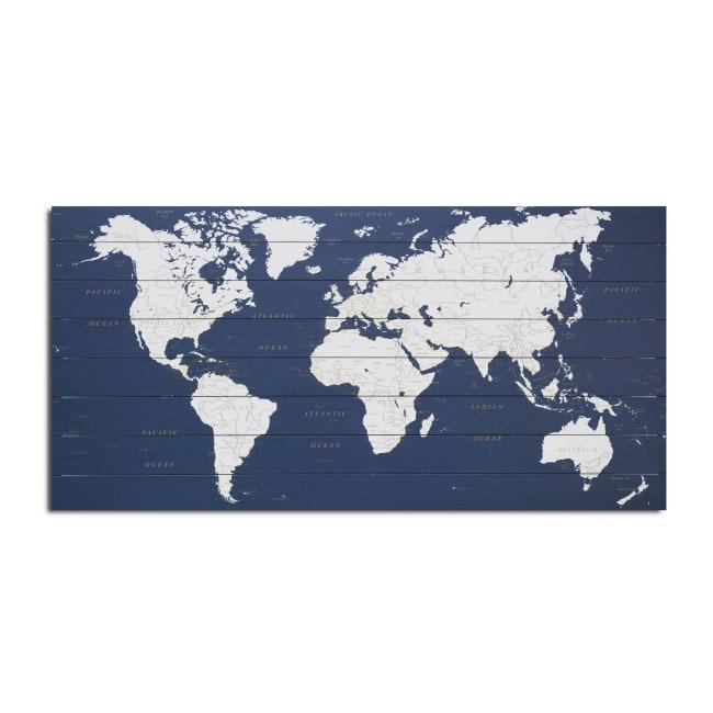World Map Dark Blue Planked Wood Map Art Print