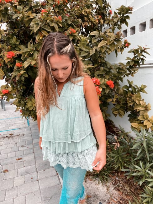 Washed Tiered Popover Tank