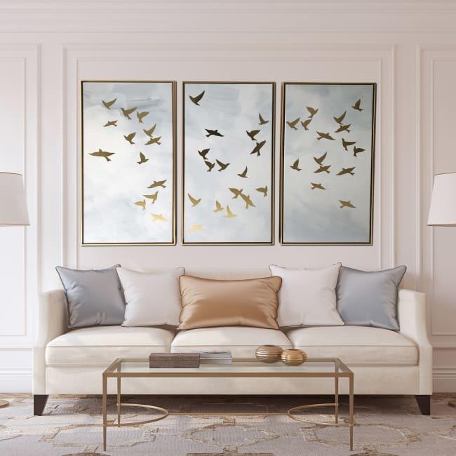 Golden Birds Triptych 48x30 Floating Canvas Wall Art