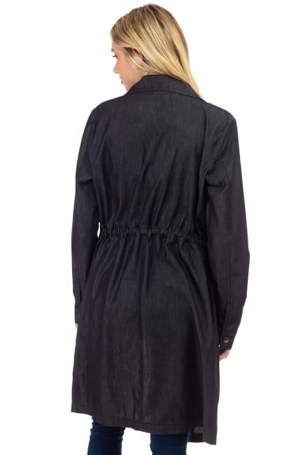 26 International Cascade Light Denim Long Jacket with Waist Drawcord