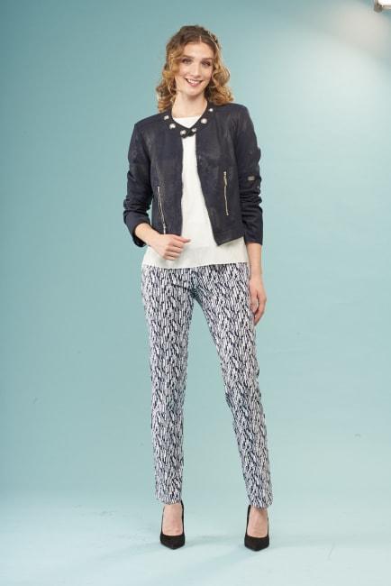 Lena Gabrielle Faux Leather Jacket Navy