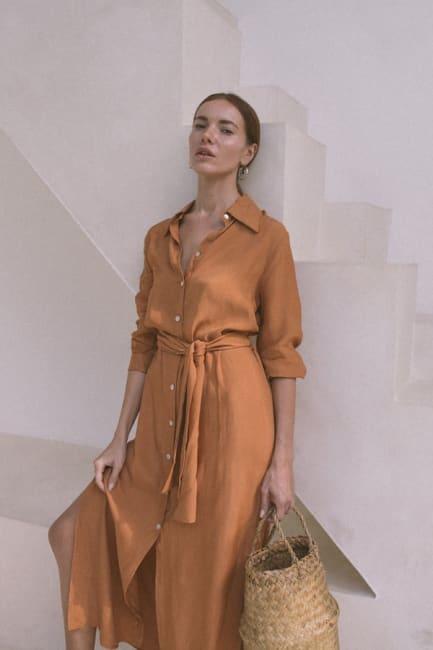 Apricot Shirt Dress