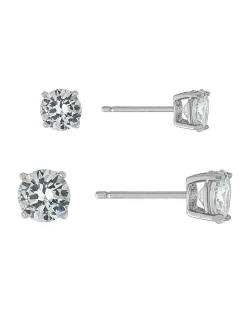 Sterling Silver 5MM and 6MM Cubic Zirconia Stud Earring Set