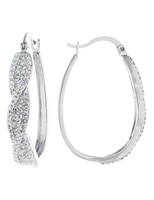Boxed Fine Silver Plated 25mm Crystal Front Twist Hoops
