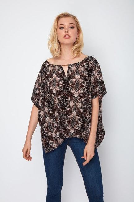 Dora Landa Printed Silk Oversized Poncho Top