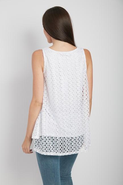 Dora Landa Lace Overlay Knit Top