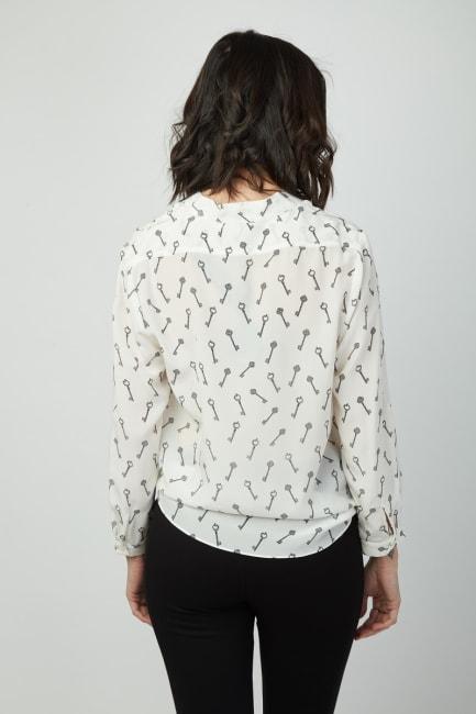 Dora Landa Printed Key Silk Malone Top