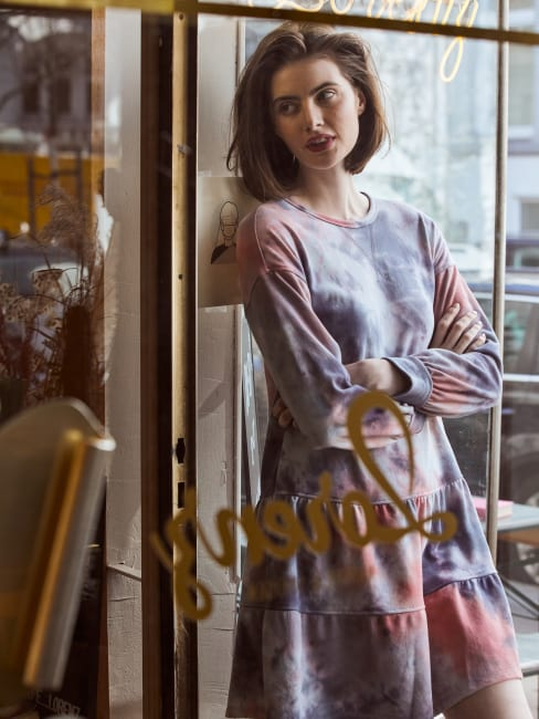 Tie Dye Tiered Sweatshirt Dress - Plus