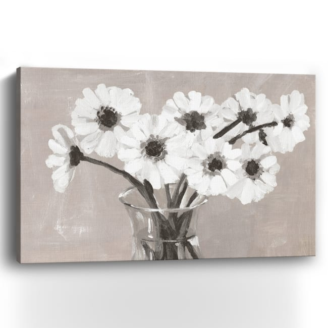 Greige Floral Canvas Giclee