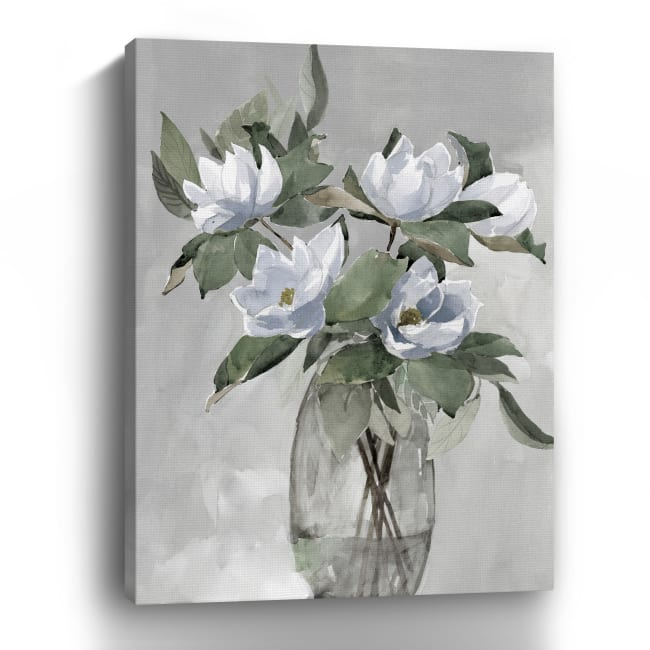 Floral in Gray Canvas Giclee