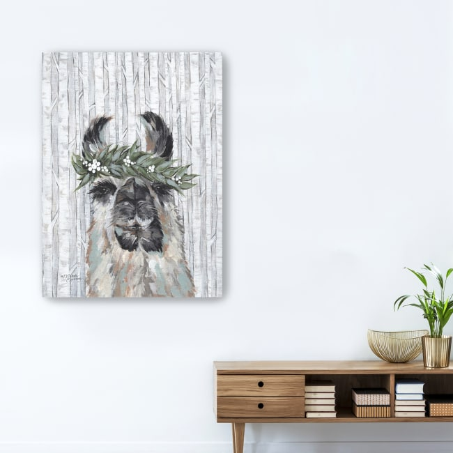 Lizzy the Winter Llama Canvas Giclee