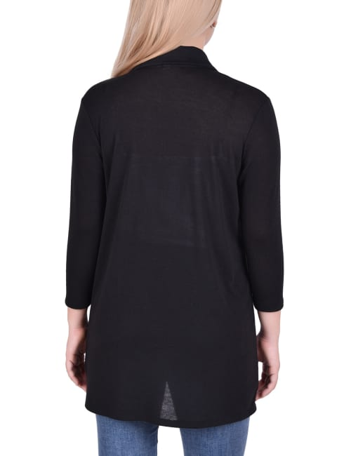 3/4 Sleeve Solid Cardigan With Wide Collar