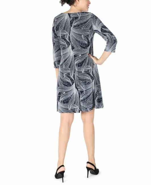 Studio One  Navy/Ivory  A- Line Dress