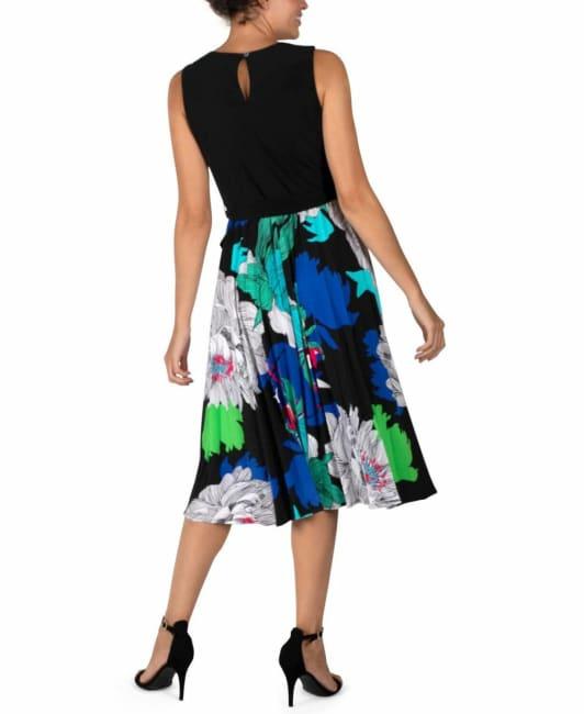 Studio One Black/Royal  Pleated Skirt Dress