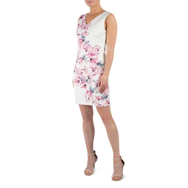 DR Floral Ivory/Blush Sleeveless V-Neck Scuba Dress