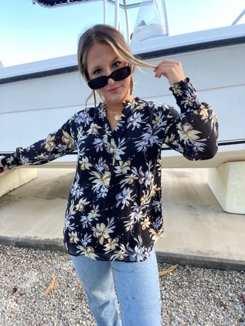 Tropical Floral Popover Woven Blouse
