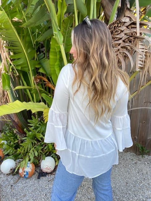 White Mixed Fabric Tiered Top
