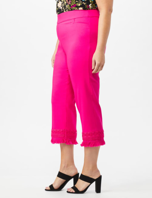 Zac & Rachel Pull on Crop Pants with Novelty Fringe Hem