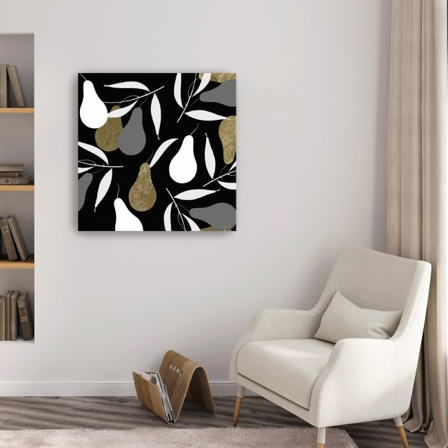 Au Pear Black Canvas Giclee