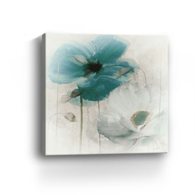 Teal Poppies I Canvas Giclee