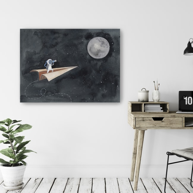 Paper Airplane to the Moon Canvas Giclee