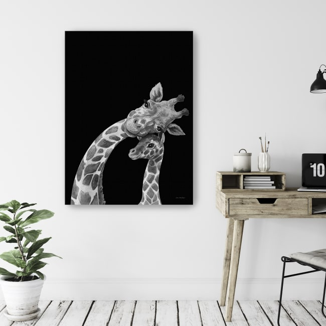 Baby Giraffe and Mom Canvas Giclee