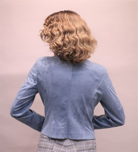 Lena Gabrielle Faux Leather Novelty Jean Jacket Ethereal Blue