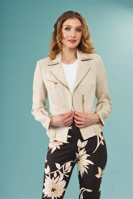 Lena Gabrielle Rayon Nylon Moto Novelty Jacket Linen