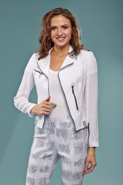 Lena Gabrielle Rayon Nylon Moto Novelty Jacket White