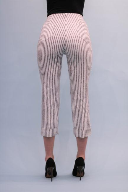 Lena Gabrielle Techno Cuffed Crop Stripe Pant Black Awning Stripe
