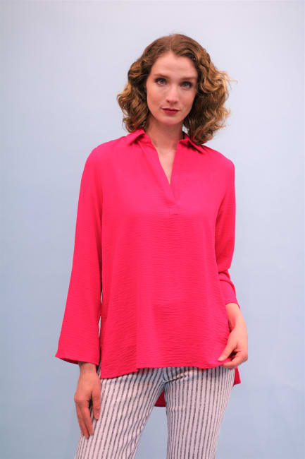 Lena Gabrielle Solid Textured Georgette High-Low Top Neon Pink