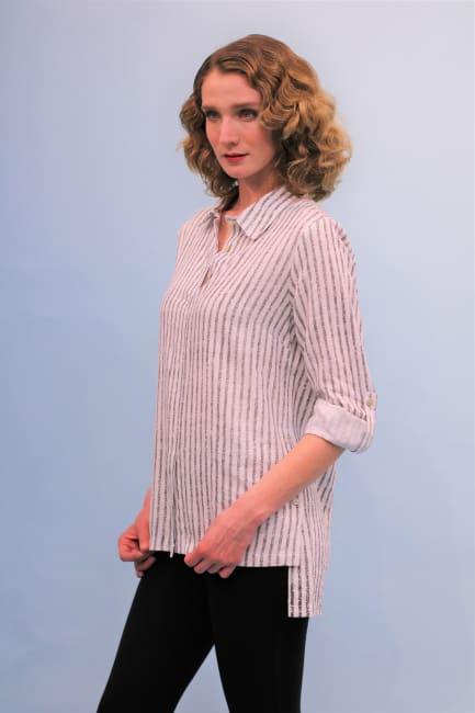Lena Gabrielle Stripe Linen Top Black Awning Stripe
