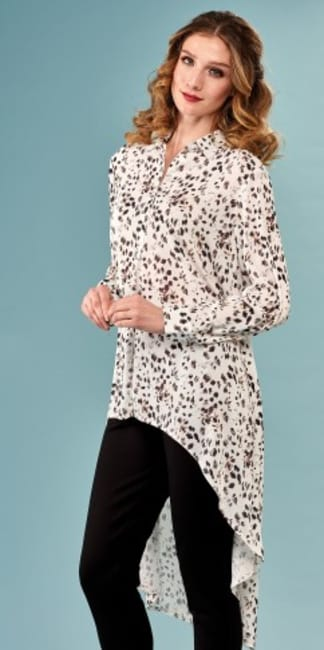Lena Gabrielle Printed Long Sleeve Hi-Low Leopard Dots Tunic Top