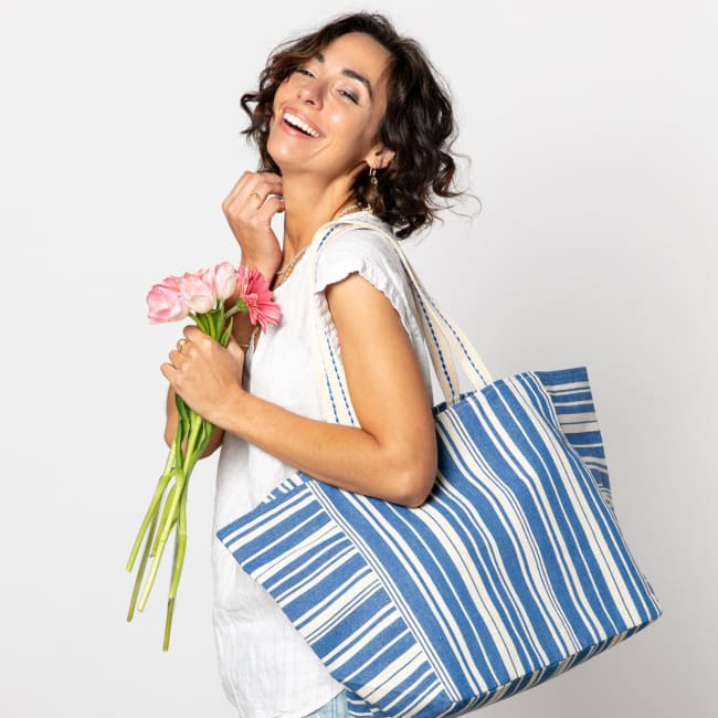 Woven Stripe Blue Carryall Tote