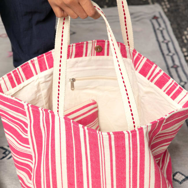 Woven Stripe Pink Carryall Tote