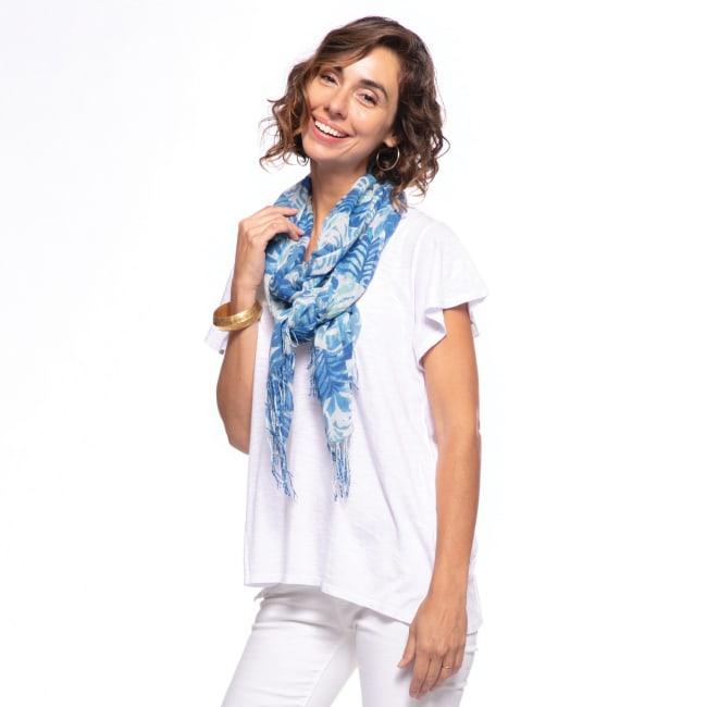 Katarina Blue Featherweight Tassel Scarf