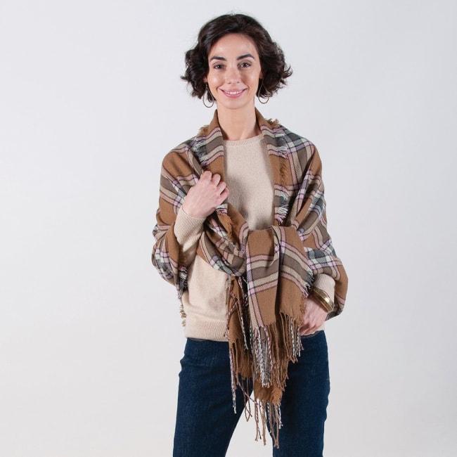 Camel/Pink Plaid Wrap Blanket Scarf