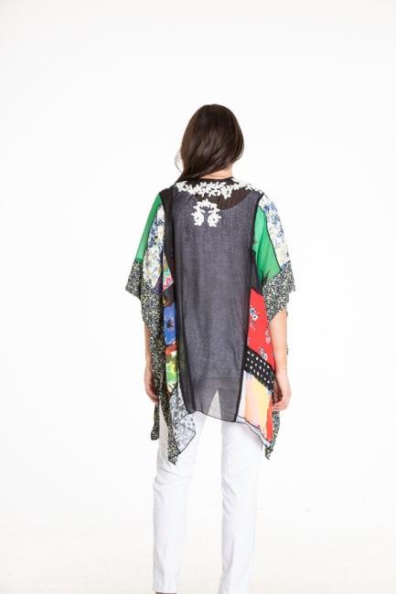 Vincente Embroidered Mix Print Kimono