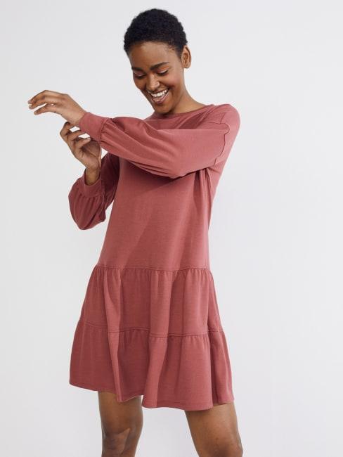 Marsala Tiered Sweatshirt Dress