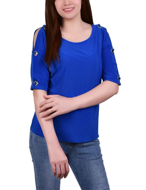 Short Sleeve Ity Top With Grommets - Petite