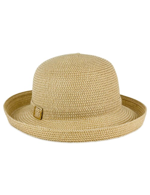 Two Tone Buckle Straw Kettle Hat