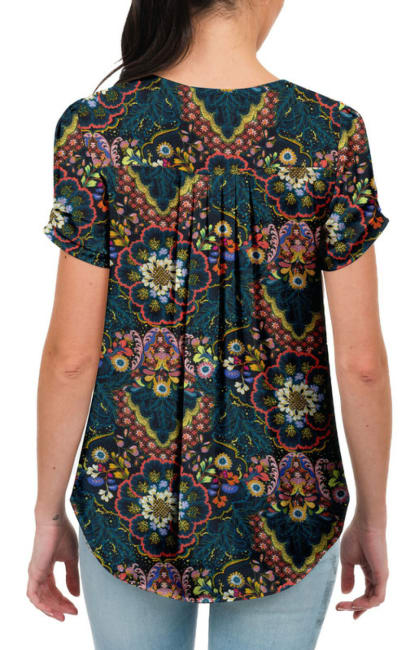 DR2 Casual Short Sleeve V Neck Top